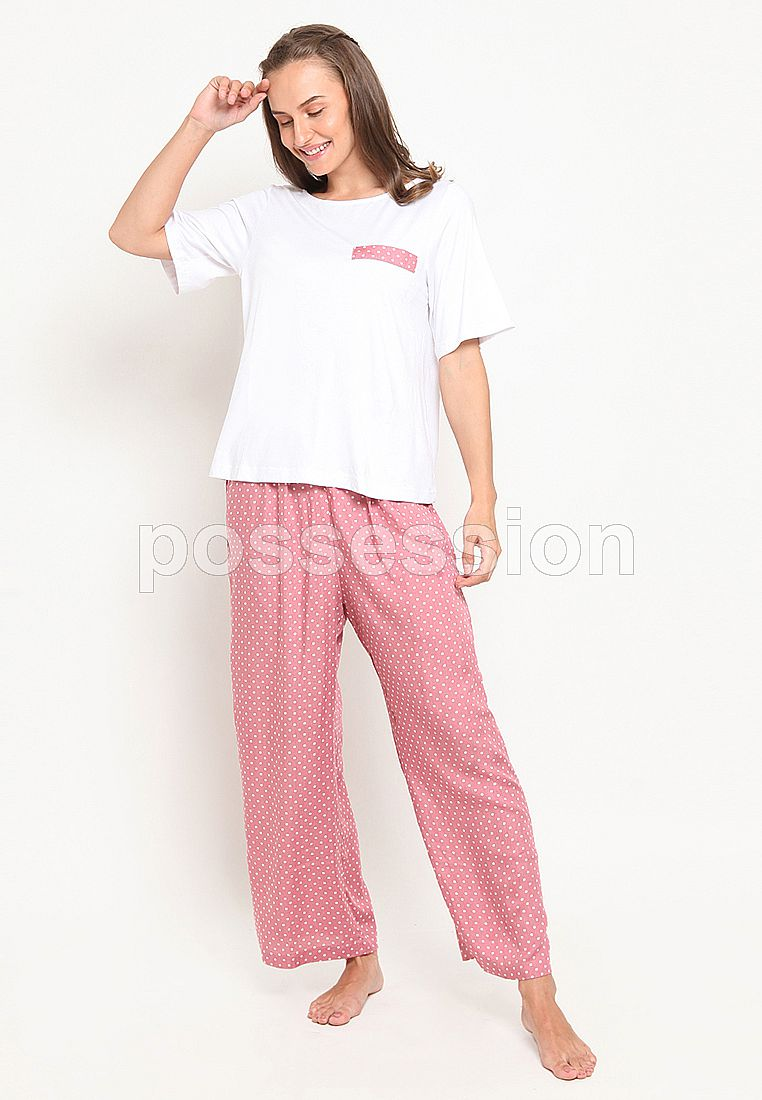 Impression Pajamas Set 7242 White-Pink Pol